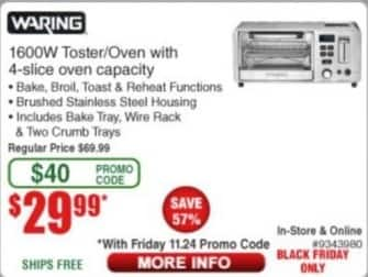 Frys Black Friday: Warning 1600W Toaster/Oven w/ 4-Slice Oven Capacity for $29.99