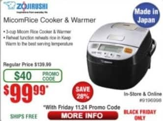 Frys Black Friday: Zojirushi Micom Rice Cooker & Warmer for $99.99