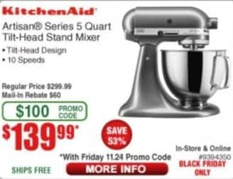 frys black friday kitchenaid artisan series 5 quart tilt head stand mixer for. Black Bedroom Furniture Sets. Home Design Ideas