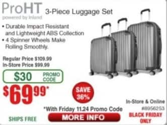 Frys Black Friday: ProHT 3-Piece Luggage Set for $69.99