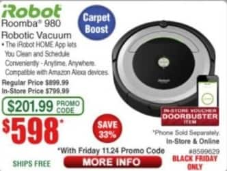 Frys Black Friday: iRobot Roomba 980 Robotic Vacuum for $598.00