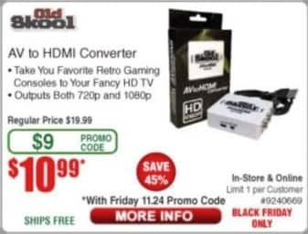 Frys Black Friday: Old Skool AV to HDMI Converter for $10.99