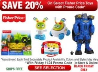 Frys Black Friday: Select Fisher Price Toys - 20% Off