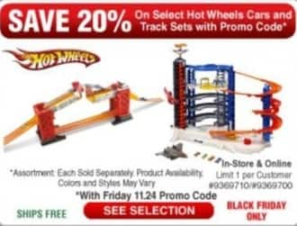 Frys Black Friday: Select Hot Wheels Cars and Track Sets - 20% Off