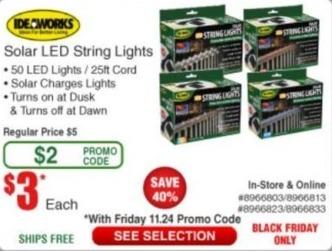 Frys Black Friday: Ideaworks Solar LED String Lights for $3.00