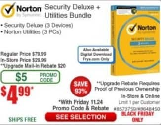 Frys Black Friday: Norton Security Deluxe + Utilities Bundle for $4.99 after $20.00 rebate