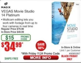 Frys Black Friday: Magix Vegas Movie Studio 14 Platinum for $34.99
