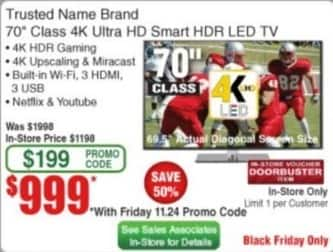 "Frys Black Friday: 70"" Trusted Name Brand 4K Ultra HD Smart HDR LED TV for $999.00"