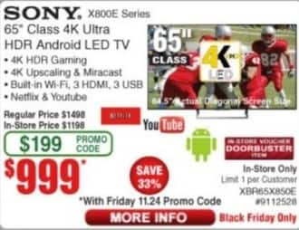 "Frys Black Friday: 65"" Sony XBR65X850E 4K Ultra HDR Android LED TV for $999.00"