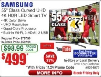 """Frys Black Friday: 55"""" Samsung Curved 4K HDR LED Smart TV for $499.00"""