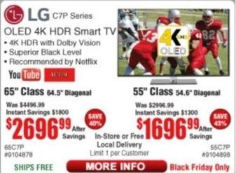 "Frys Black Friday: 65"" LG OLED 4K HDR Smart TV for $2,696.99"
