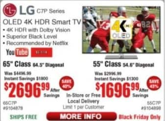 "Frys Black Friday: 55"" LG OLED 4K HDR Smart TV for $1,696.99"