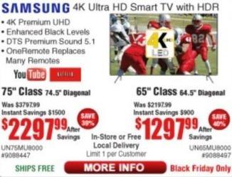 "Frys Black Friday: 65"" Samsung UN65MU8000 4K Ultra Smart TV w/ HDR for $1,297.99"