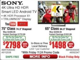 """Frys Black Friday: 65"""" Sony XBR65X900E 4K Ultra HD HDR Smart LED Android TV for $1,498.00"""