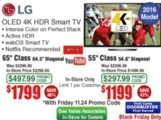 "Frys Black Friday: 65"" LG OLED 4K HDR Smart TV for $1,799.00"