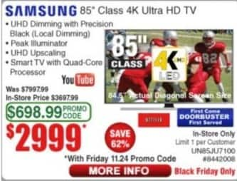 "Frys Black Friday: 85"" Samsung  UN85JU7100 4K Ultra HD TV for $2,999.00"