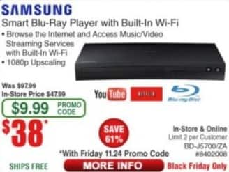Frys Black Friday: Samsung Smart Blu-Ray Player w/ Built-In Wi-Fi for $38.00