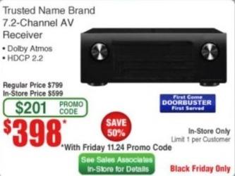 Frys Black Friday: Trusted Name Brand 7.2 Channel AV Receiver for $398.00