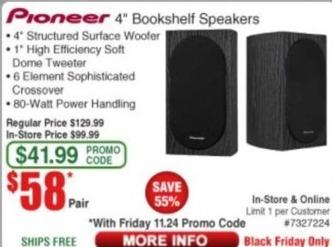 "Frys Black Friday: Pioneer 4"" Bookshelf Speakers for $58.00"