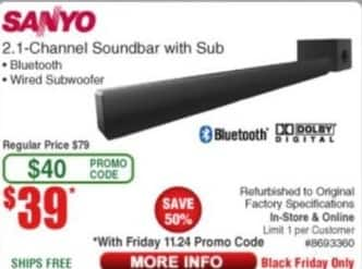 Frys Black Friday: Sanyo 2.1 Channel Soundbar w/ Sub - Refurb for $39.00