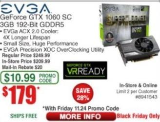 Frys Black Friday: EVGA GeForce GTX 1060 SC 3GB 192-Bit GDDR5 Video Card for $179.00 after $20.00 rebate