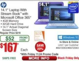 "Frys Black Friday: HP 14.1"" Laptop: 4gb Memory, 32GB HD, Windows 10 and Stream Book w/ Microsoft Office 365 for $167.00"