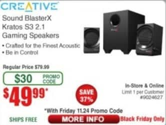 Frys Black Friday: Creative Sound BlasterX Kratos S3 2.1 Gaming Speakers for $49.99