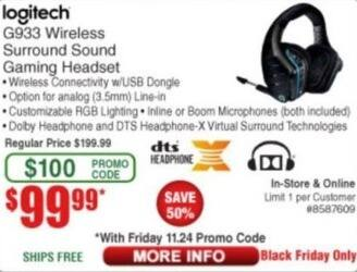 Frys Black Friday: Logitech G933 Wireless Surround Sound Gaming
