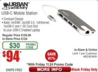 Frys Black Friday: Urban Factory USB-C Mobile Station for $94.00