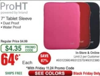 "Frys Black Friday: ProHT 7"" Tablet Sleeve for $0.64"