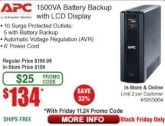 Frys Black Friday: APC 1500VA Battery Backup w/ LCD Display for $134.00