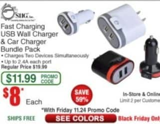 Frys Black Friday: SHG Fast Charging USB Wall Charger & Car Charger Bundle Pack for $8.00