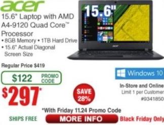 Frys Black Friday: Acer Laptop: 15 6