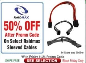 Frys Black Friday: Select Raidmax Sleeved Cables - 50% Off