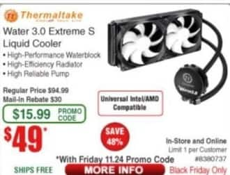 Frys Black Friday: Thermaltake Water 3.0 Extreme S Liquid Cooler for $49.00