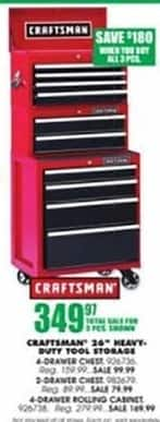 """Blains Farm Fleet Black Friday: Craftsman 26"""" Heavy Duty Tool Storage w/ 4-Drawer Chest,  8-Drawer Chest And 4-Drawer Rolling Cabinet - 3 Piece Set for $349.97"""