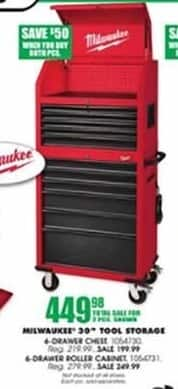 "Blains Farm Fleet Black Friday: Milwaukee 30"" Tool Storage w/ 6-Drawer Chest and 6-Drawer Rolling Cabinet - 2 Piece Set for $449.98"