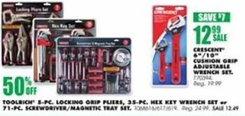 Blains Farm Fleet Black Friday: Toolrich 5-PC. Locking Grip Pliers, 35-PC. Hex Key Wrench Set or 71-PC. Screwdriver/Magnetic Tray Set - 50% Off