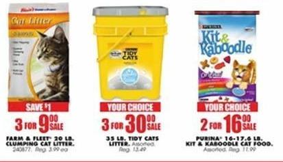 Blains Farm Fleet Black Friday: ( 3 ) Farm & Fleet 20 LB. Clumping Cat Liter for $9.00