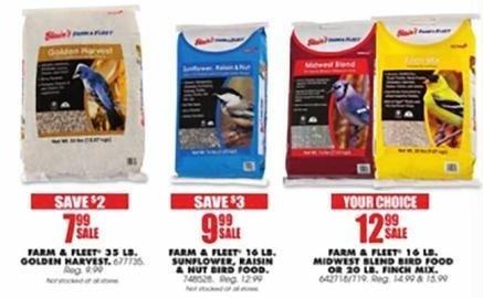 Blains Farm Fleet Black Friday: Farm & Fleet 16 LB. Sunflower, Raisin & Nut Bird Food for $9.99
