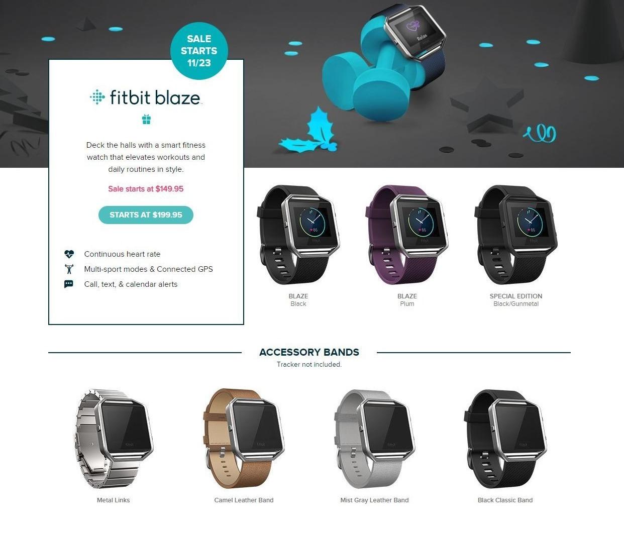 Fitbit Black Friday: Fitbit Blaze - $149.95 & UP