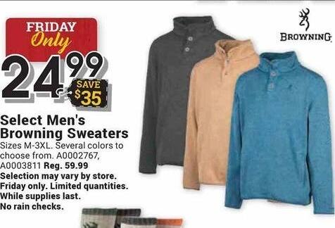 Farm and Home Supply Black Friday: Browning Select Men's Sweaters for $24.99
