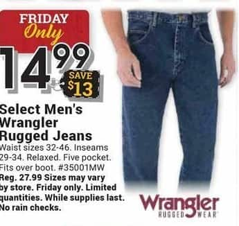 Farm and Home Supply Black Friday: Wrangler Select Men's Rugged Jeans for $14.99