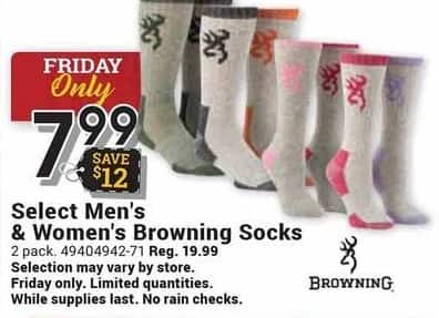 Farm and Home Supply Black Friday: Browning Select Men's And Women's Socks for $7.99