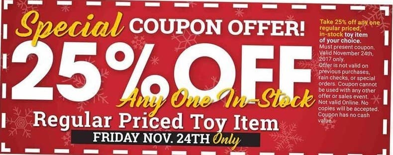 Farm and Home Supply Black Friday: Any One In-Stock Regular Price Toy Item - Friday Nov. 24th Only - 25% Off