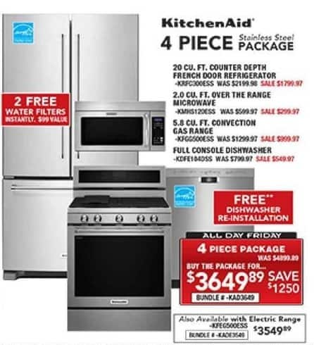 PC Richard & Son Black Friday: KitchenAid 4-Piece Stainless Steel Kitchen Appliance Package for $3,649.89