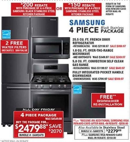 PC Richard & Son Black Friday: Samsung 4-Piece Stainless Steel Kitchen Appliance Package + $150 Samsung Visa Reward Card After Mail-In Rebate for $2,279.88