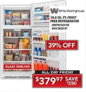 PC Richard & Son Black Friday: White Westinghouse 18.0 Cu.Ft. Frost Free Refrigerator for $379.97