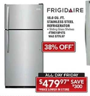 PC Richard & Son Black Friday: Frigidaire 18. Cu. Ft. Stainless Steel Refrigerator for $479.97