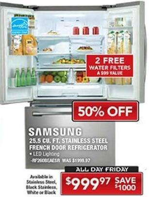 PC Richard & Son Black Friday: Samsung 25.5 Cu.Ft. Stainless Steel French Door Refrigerator for $999.97
